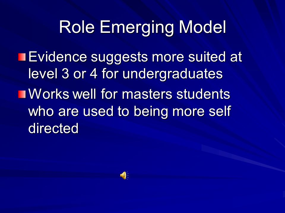 Role Emerging Model Evidence suggests more suited at level 3 or 4 for undergraduates.