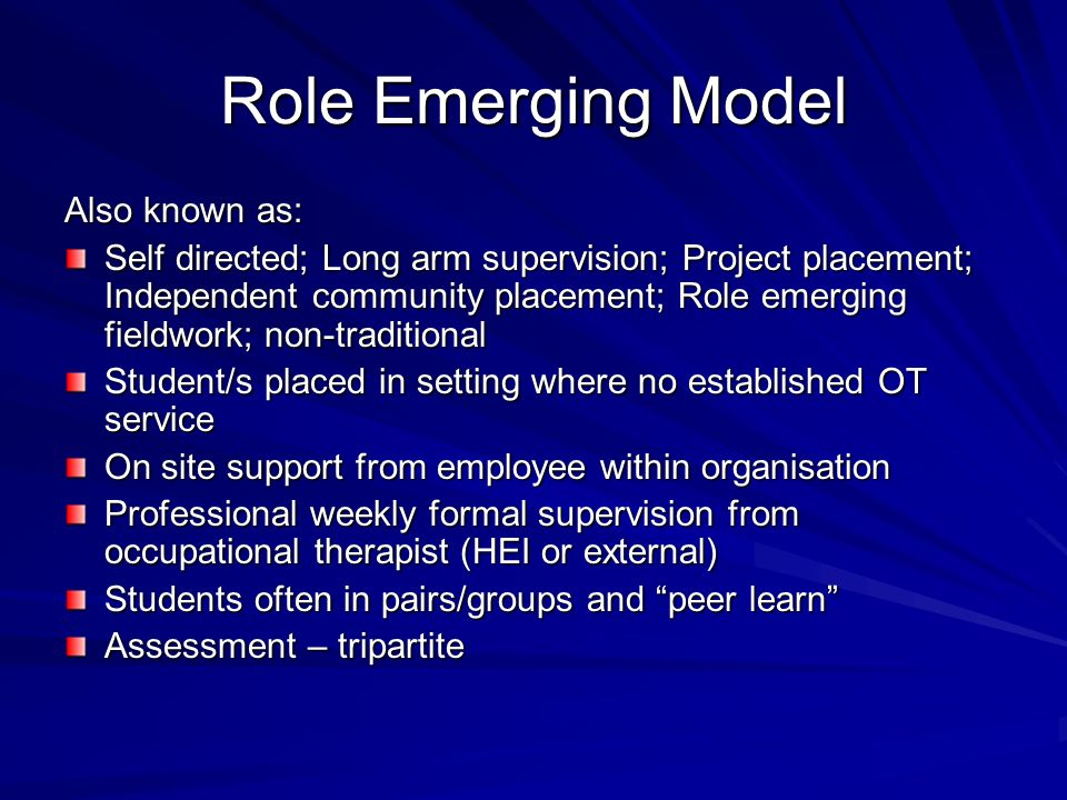 Role Emerging Model Also known as: