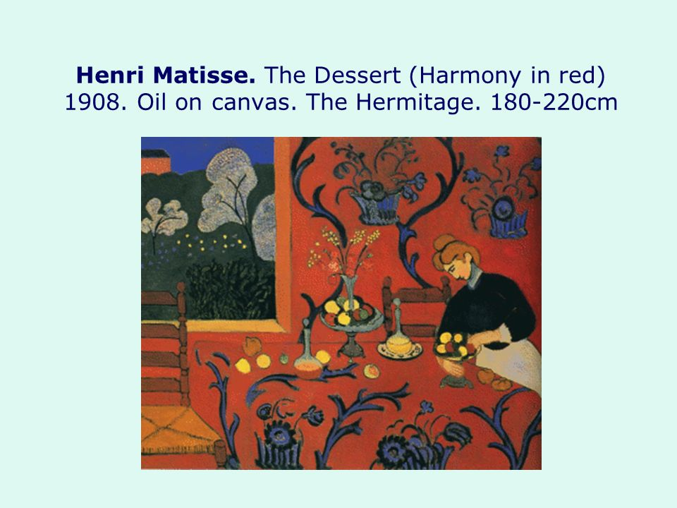 Henri Matisse. The Dessert (Harmony in red) Oil on canvas