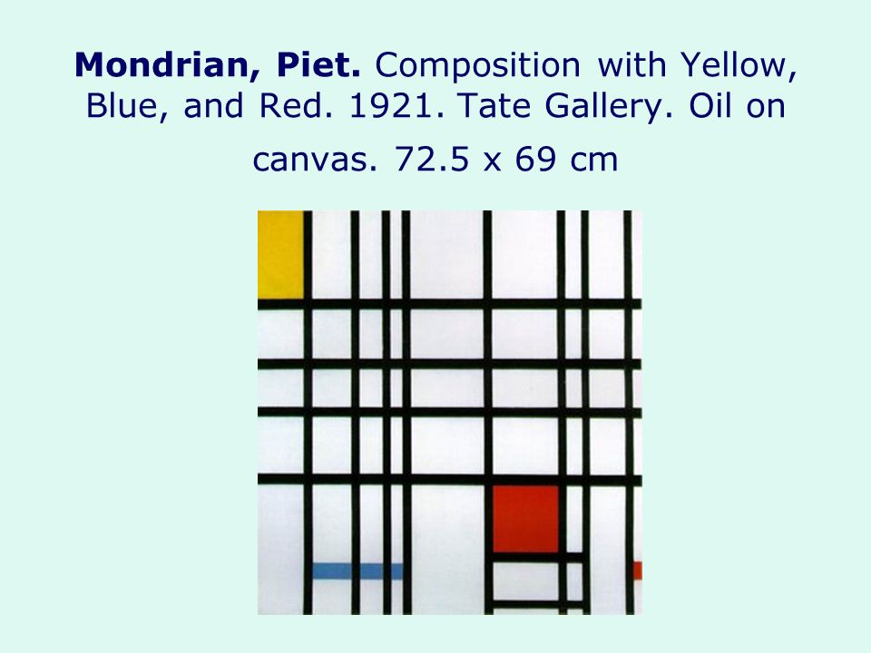 Mondrian, Piet. Composition with Yellow, Blue, and Red. 1921