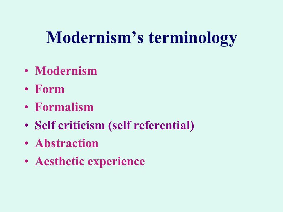 Modernism's terminology