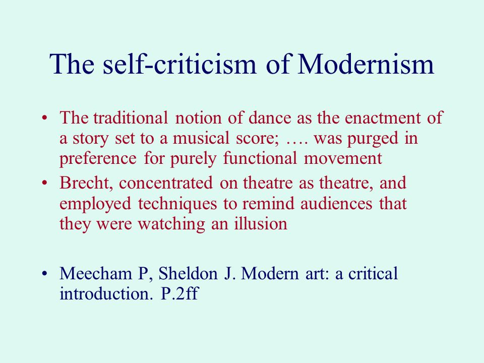 The self-criticism of Modernism