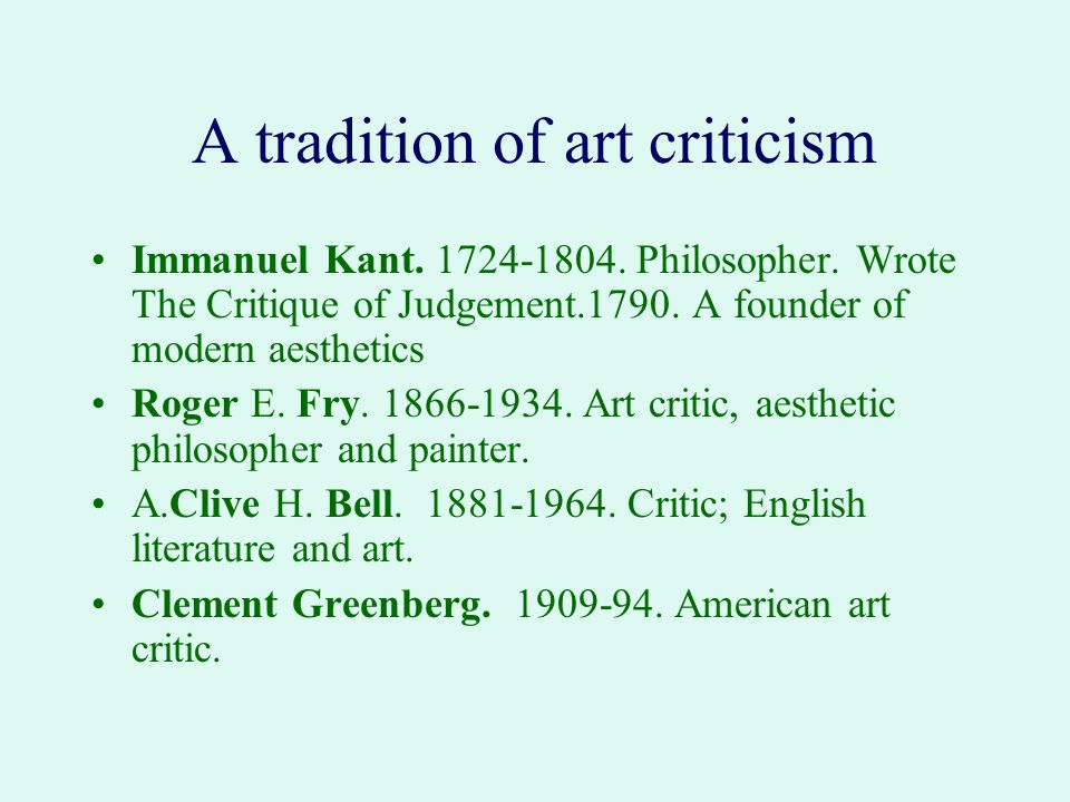 A tradition of art criticism