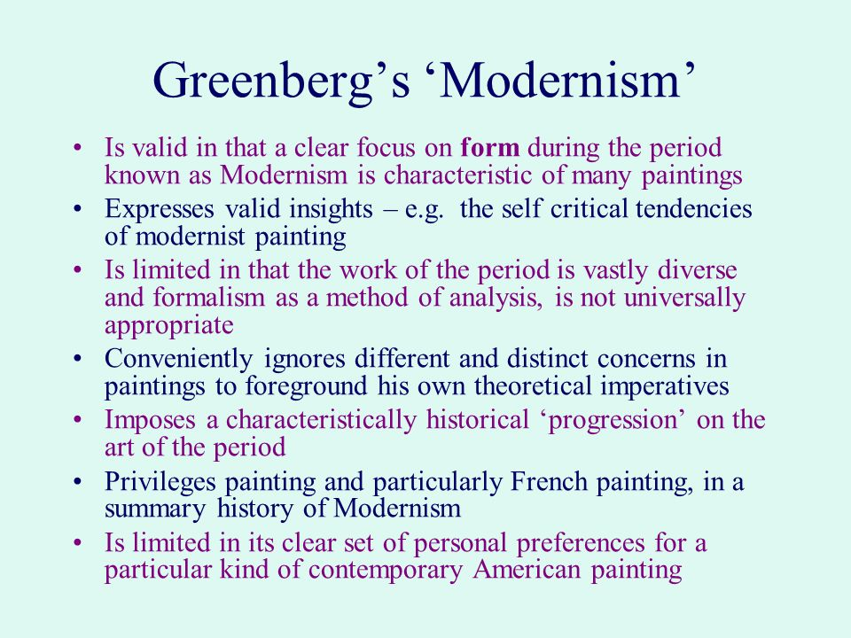 Greenberg's 'Modernism'