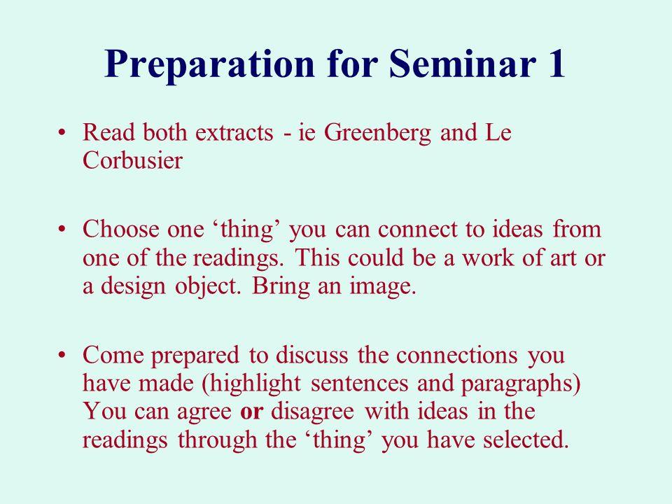 Preparation for Seminar 1