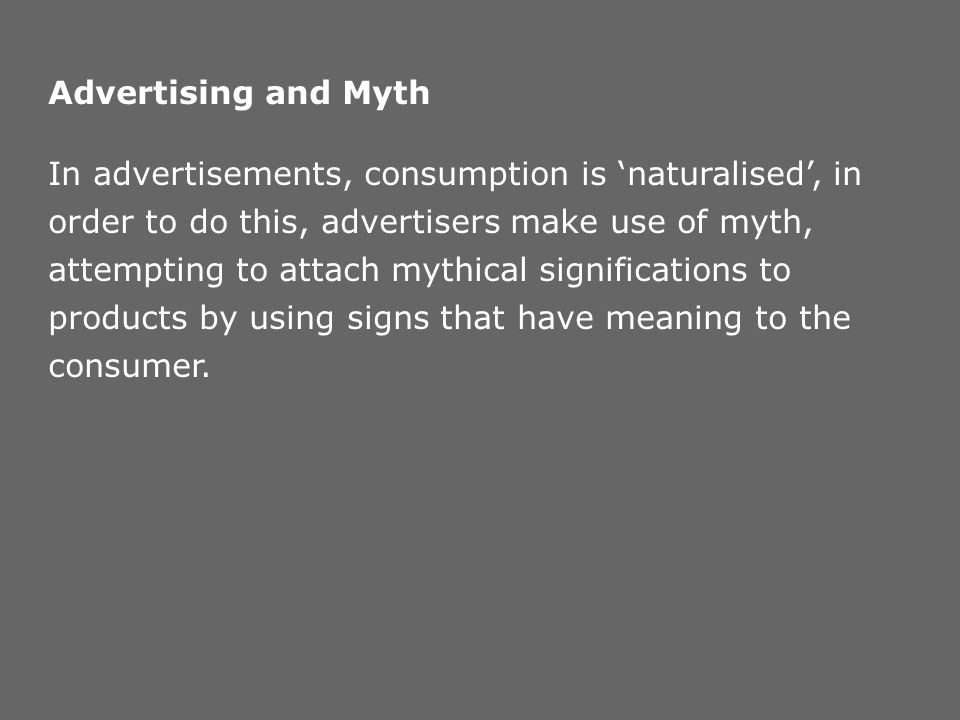 Advertising and Myth