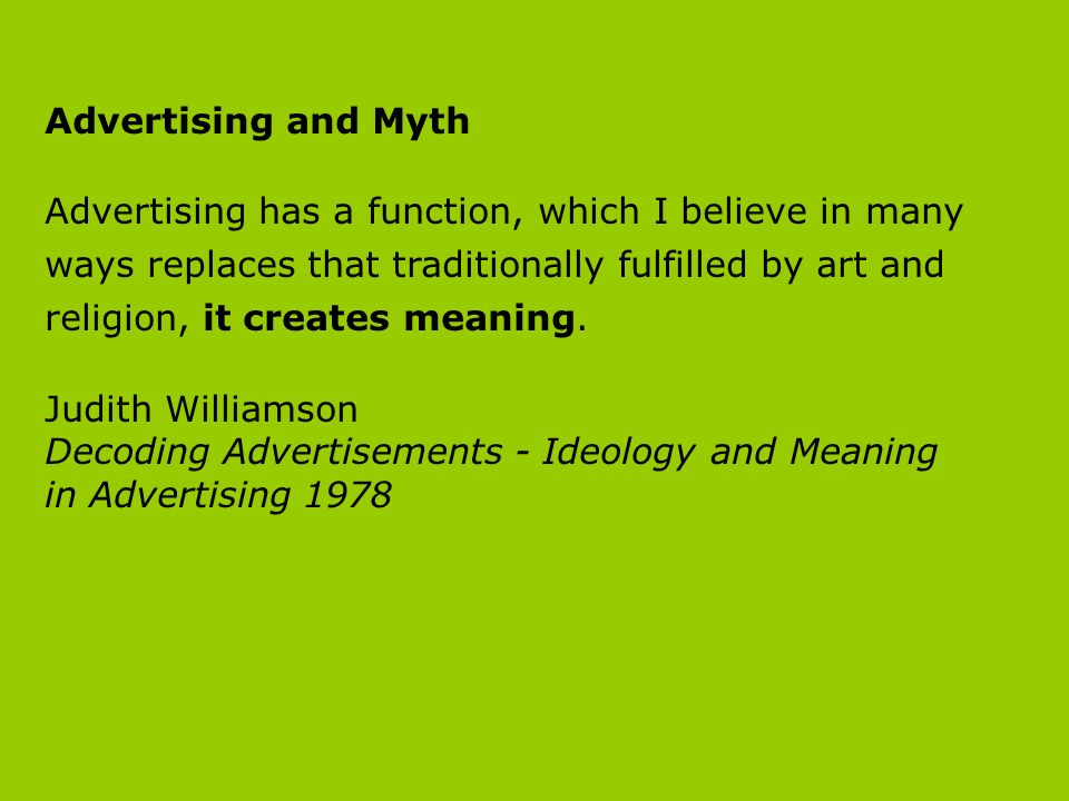 Decoding Advertisements - Ideology and Meaning in Advertising 1978