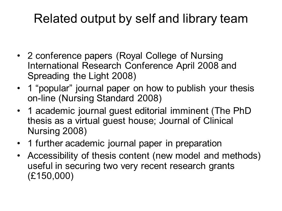 Related output by self and library team