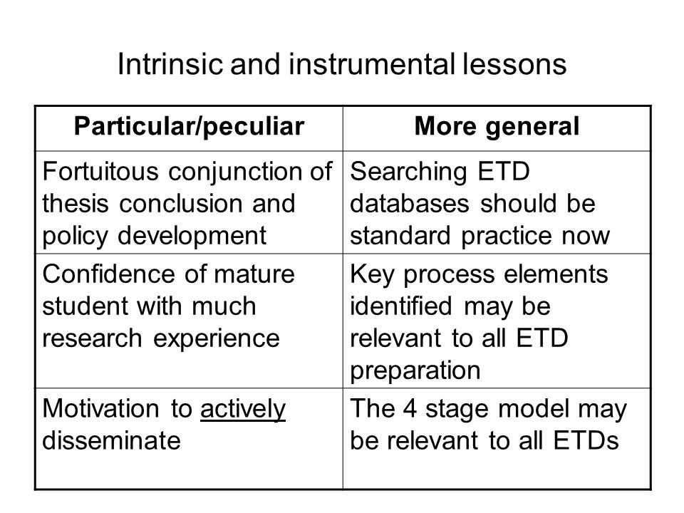 Intrinsic and instrumental lessons