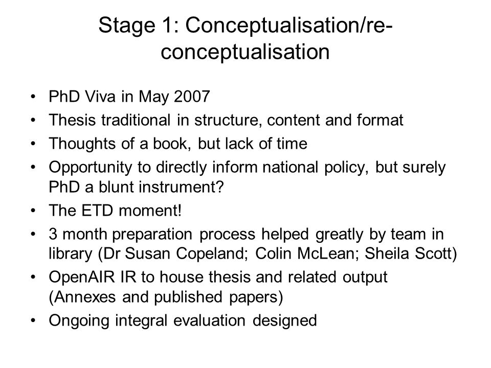 Stage 1: Conceptualisation/re-conceptualisation