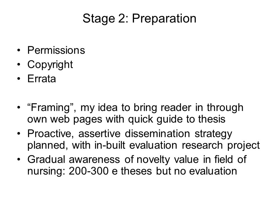 Stage 2: Preparation Permissions Copyright Errata