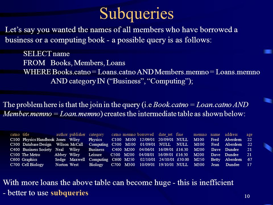 SubqueriesLet's say you wanted the names of all members who have borrowed a. business or a computing book - a possible query is as follows: