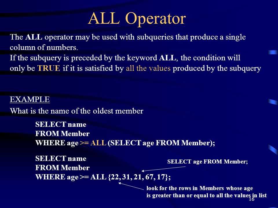 ALL OperatorThe ALL operator may be used with subqueries that produce a single. column of numbers.