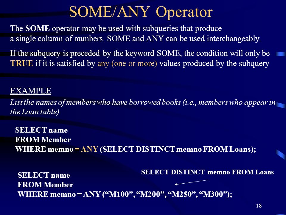 SOME/ANY Operator EXAMPLE
