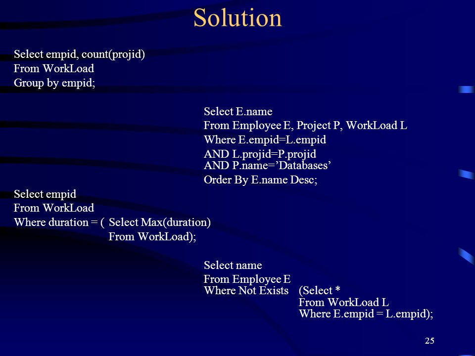 Solution Select empid, count(projid) From WorkLoad Group by empid;