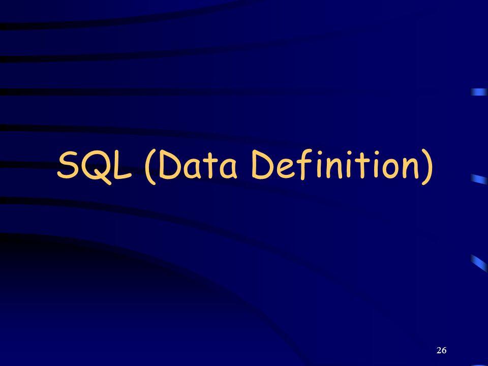 SQL (Data Definition)