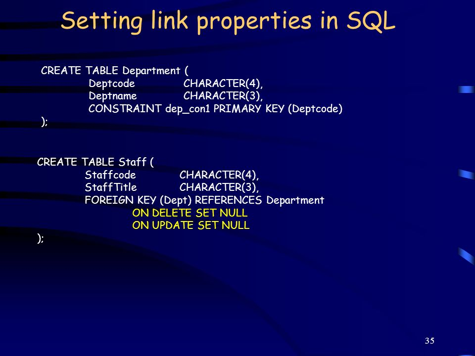Setting link properties in SQL