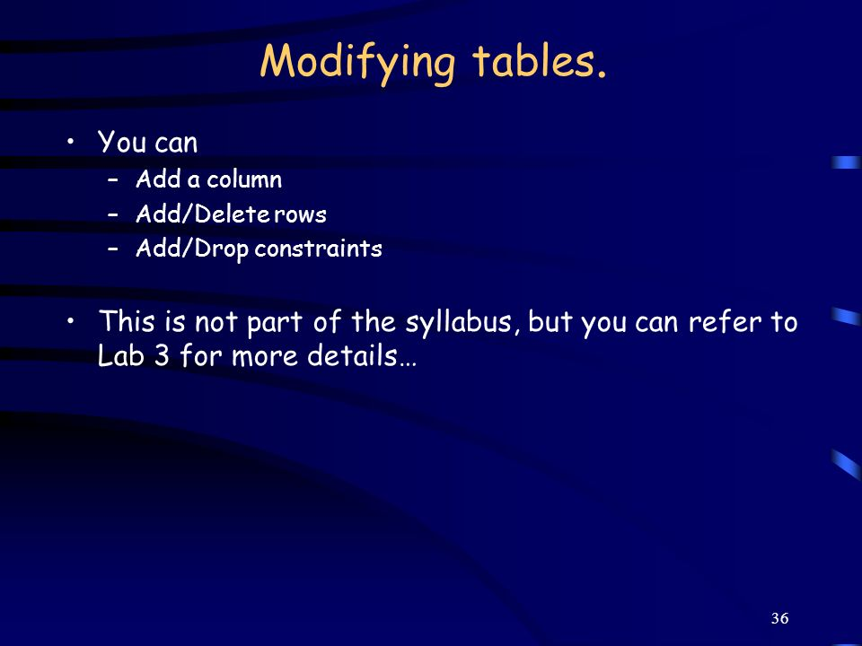 Modifying tables. You can