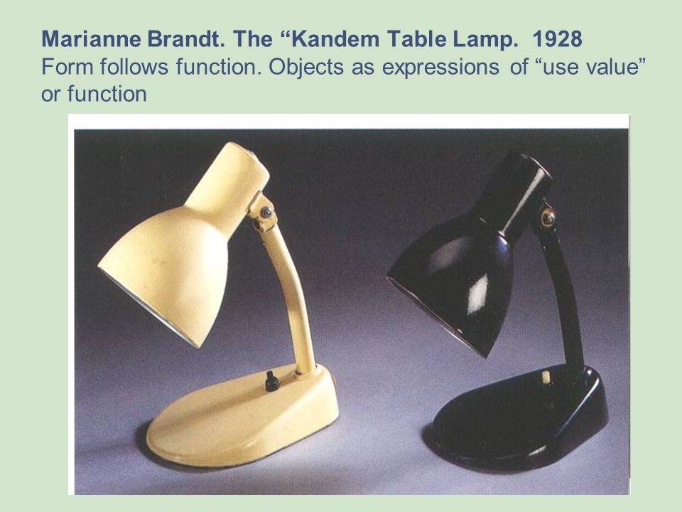 Marianne Brandt. The Kandem Table Lamp. 1928 Form follows function