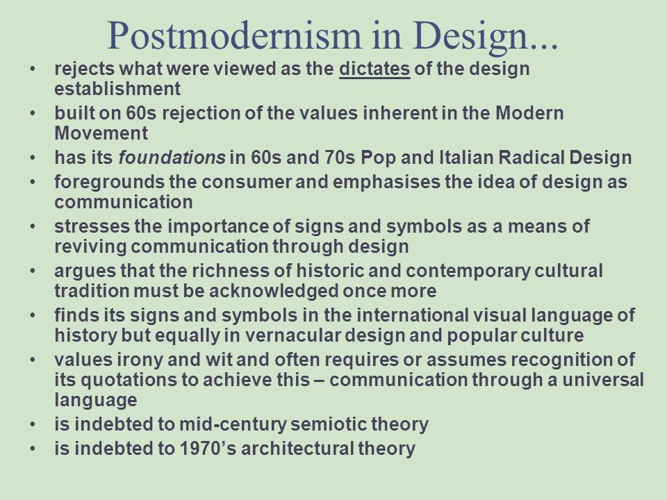 Postmodernism in Design...