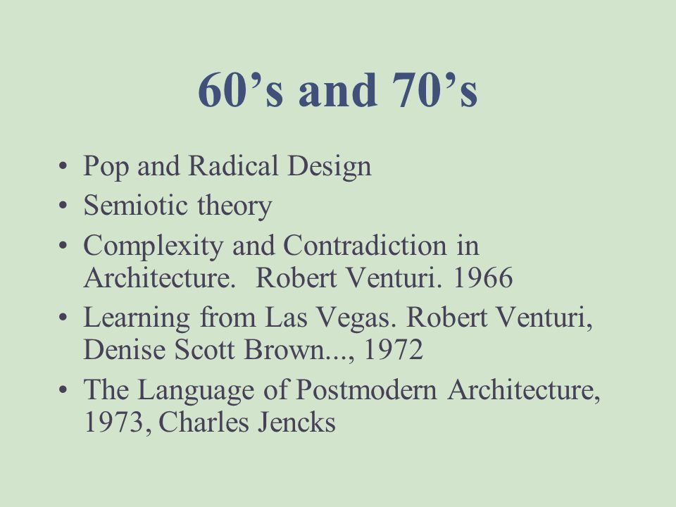 60's and 70's Pop and Radical Design Semiotic theory