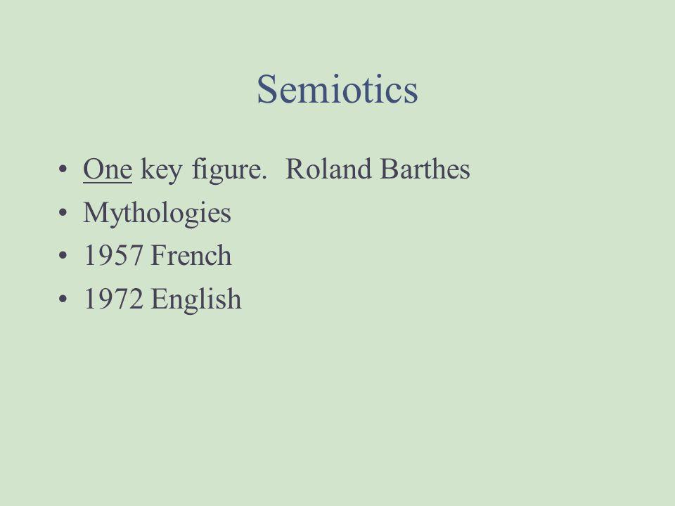 Semiotics One key figure. Roland Barthes Mythologies 1957 French