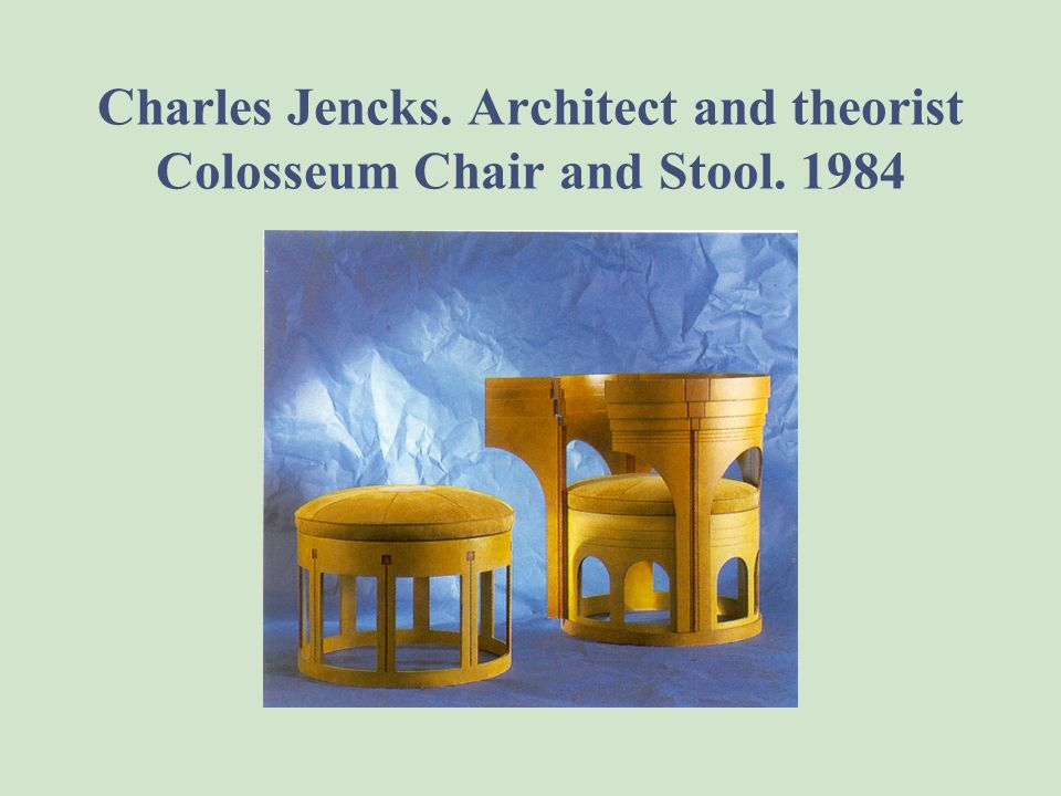 Charles Jencks. Architect and theorist Colosseum Chair and Stool. 1984
