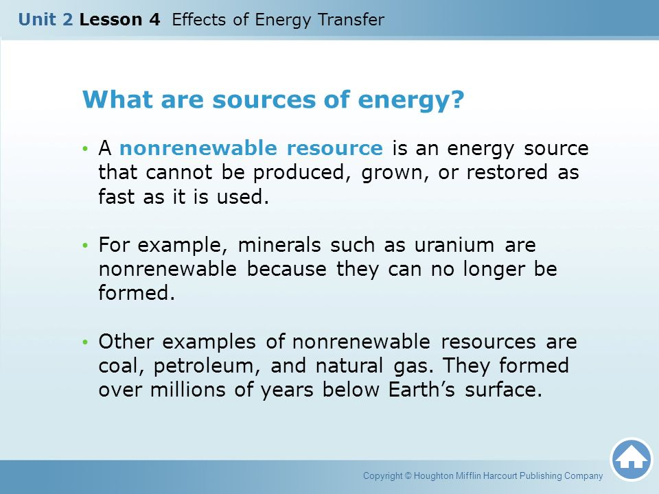 What are sources of energy