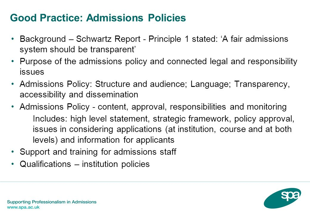 Good Practice: Admissions Policies