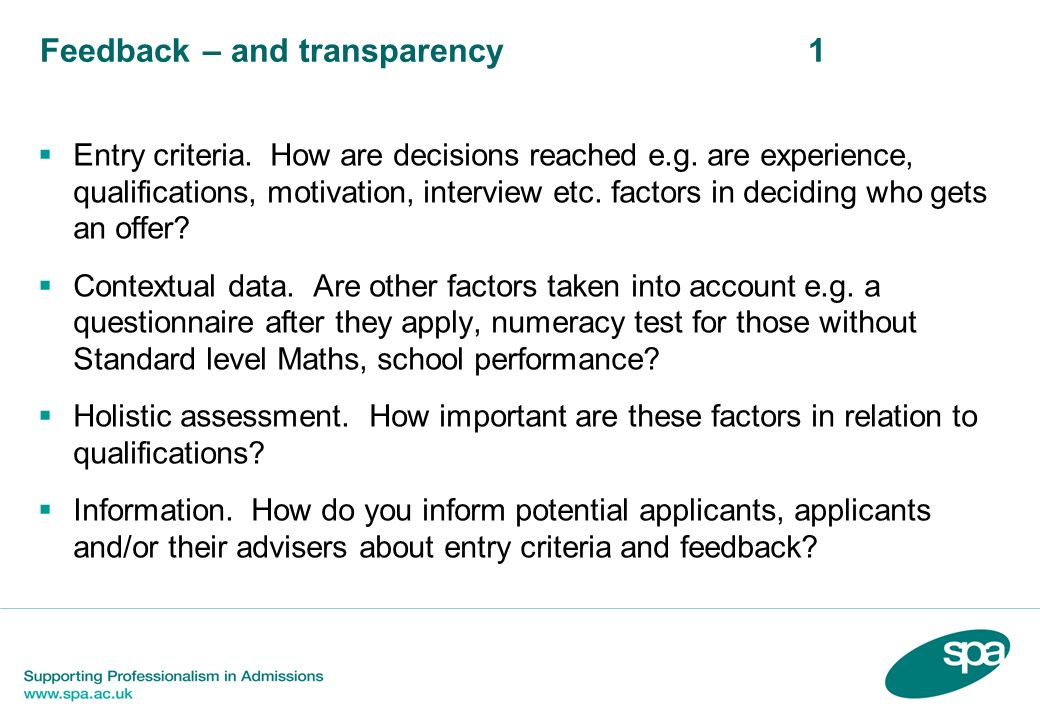 Feedback – and transparency 1