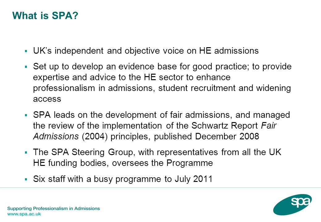What is SPA UK's independent and objective voice on HE admissions