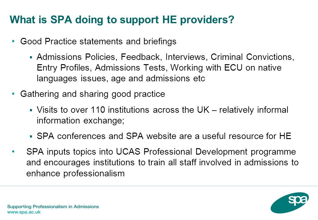 What is SPA doing to support HE providers
