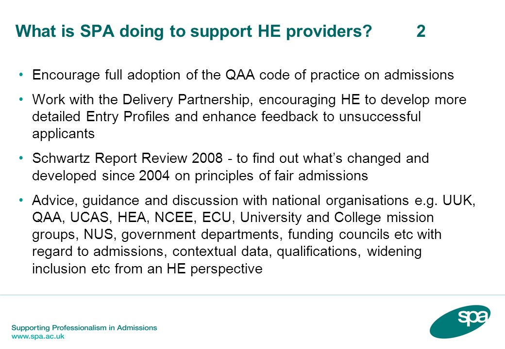 What is SPA doing to support HE providers 2