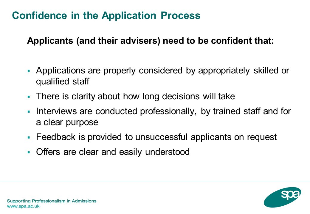 Confidence in the Application Process