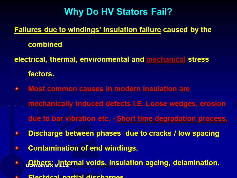 Why Do HV Stators Fail Failures due to windings' insulation failure caused by the combined.
