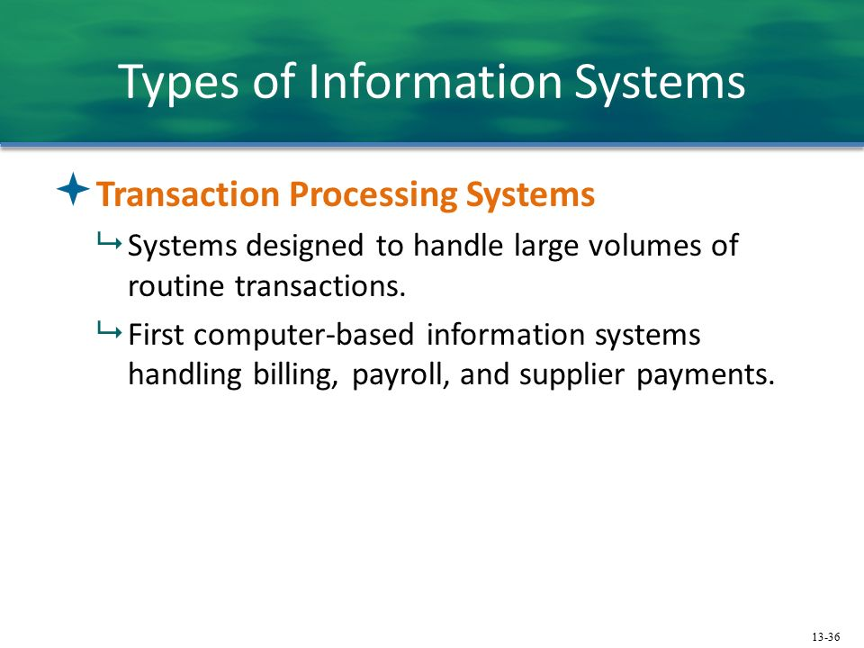 how can a transaction processing system help an organization management information system and decis Traditional transaction processingmethods and objectives• batch processing system: method of computerized processing in which business transactions are accumulated over a period of time and prepared for processing as a single unit or batch• online transaction processing (oltp): computerized processing in which each transaction is processed.
