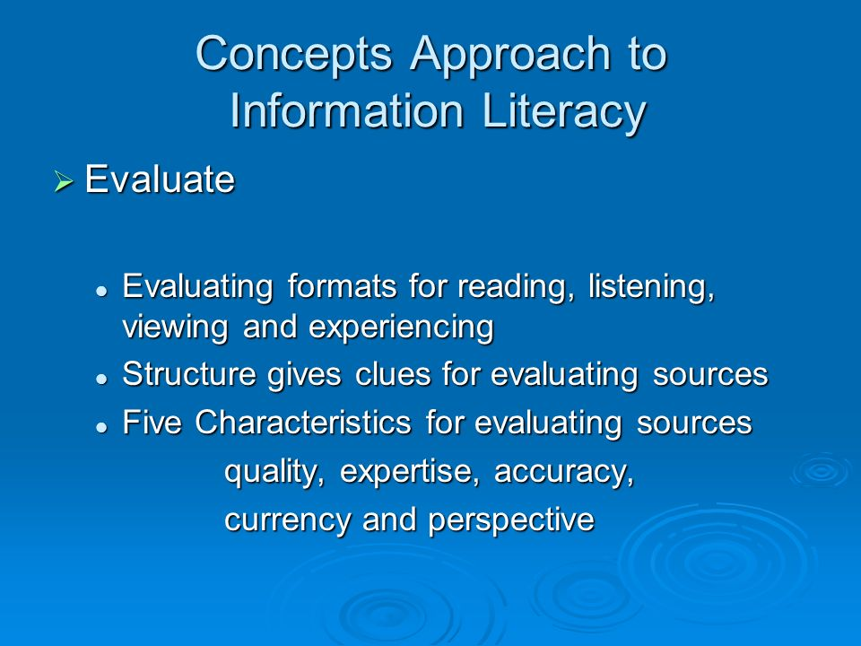 Concepts Approach to Information Literacy