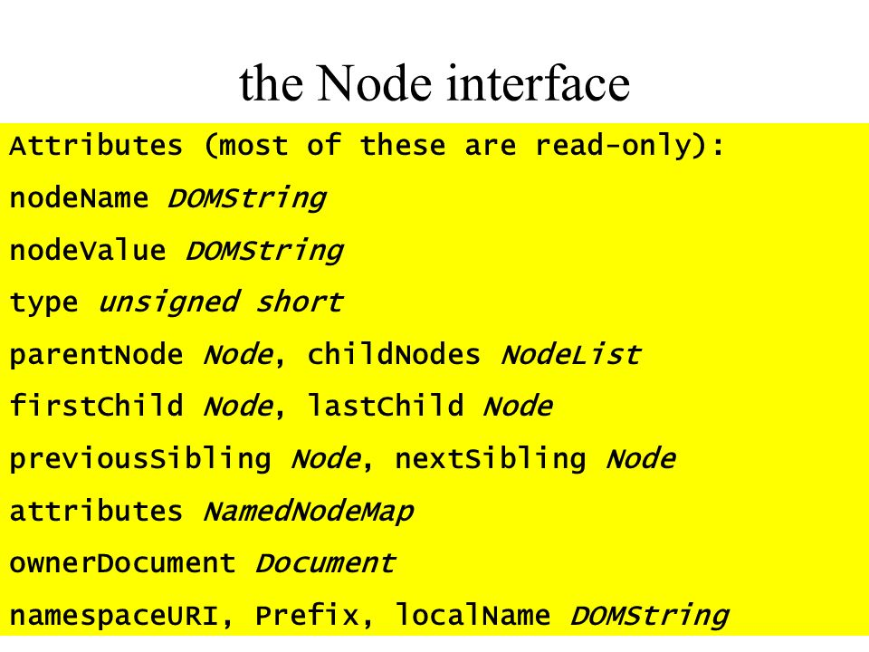 the Node interface Attributes (most of these are read-only):
