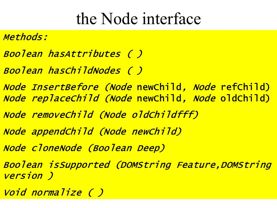 the Node interface Methods: Boolean hasAttributes ( )