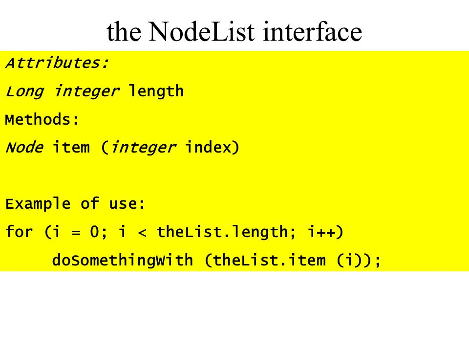 the NodeList interface
