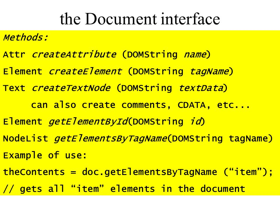the Document interface