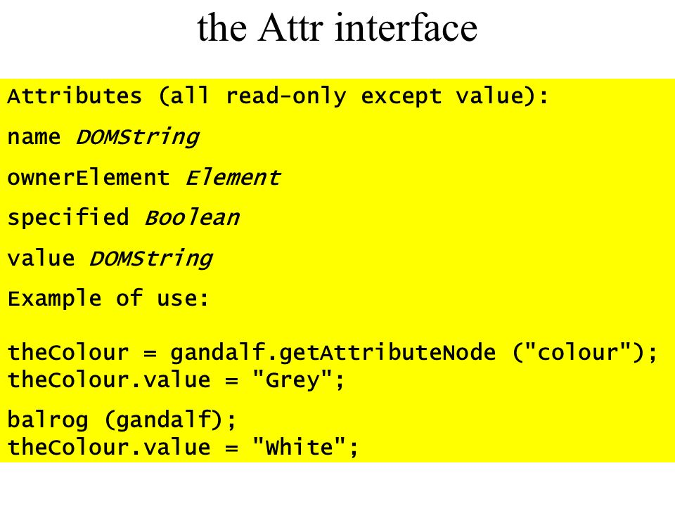 the Attr interface Attributes (all read-only except value):