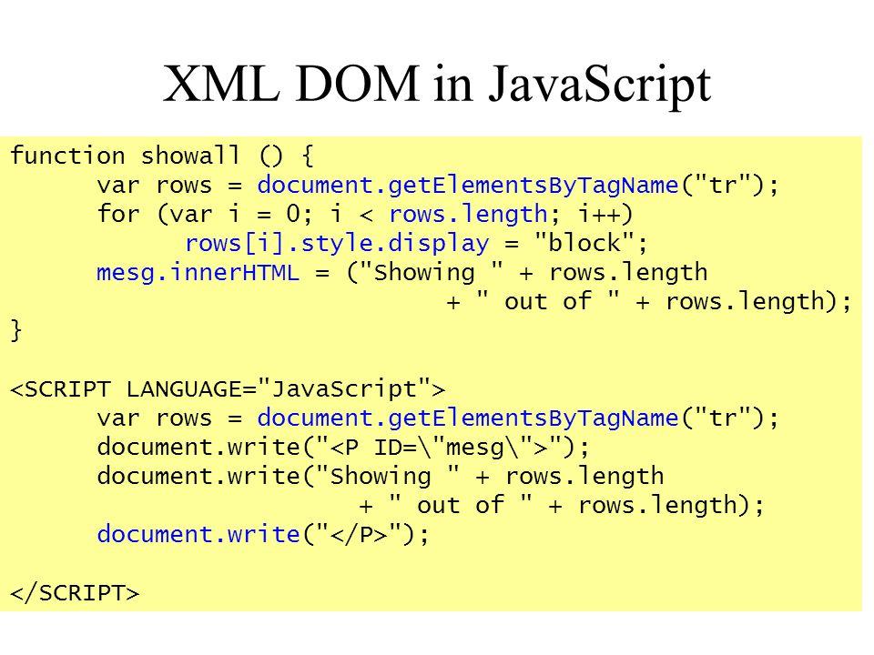 XML DOM in JavaScript function showall () {