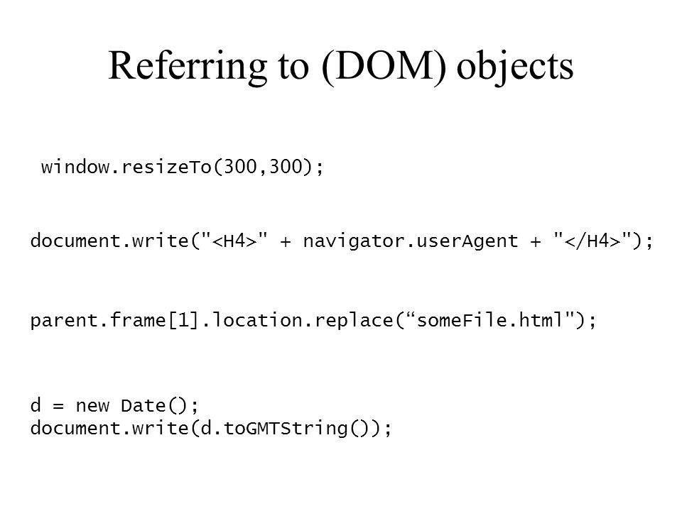 Referring to (DOM) objects