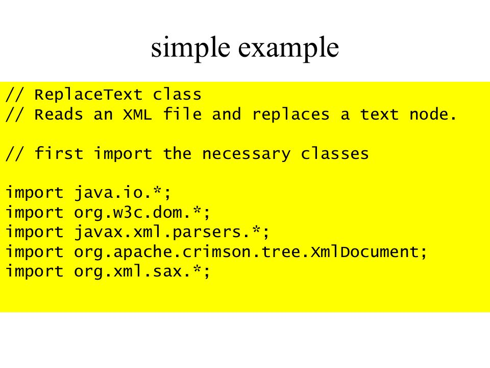 simple example // ReplaceText class