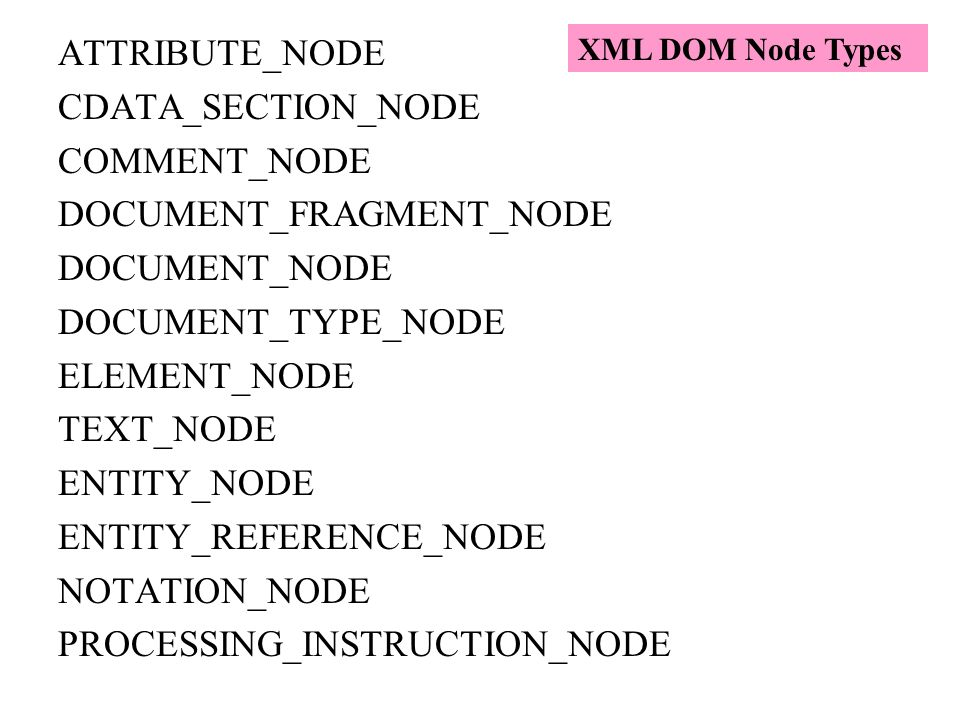 DOCUMENT_FRAGMENT_NODE DOCUMENT_NODE DOCUMENT_TYPE_NODE ELEMENT_NODE