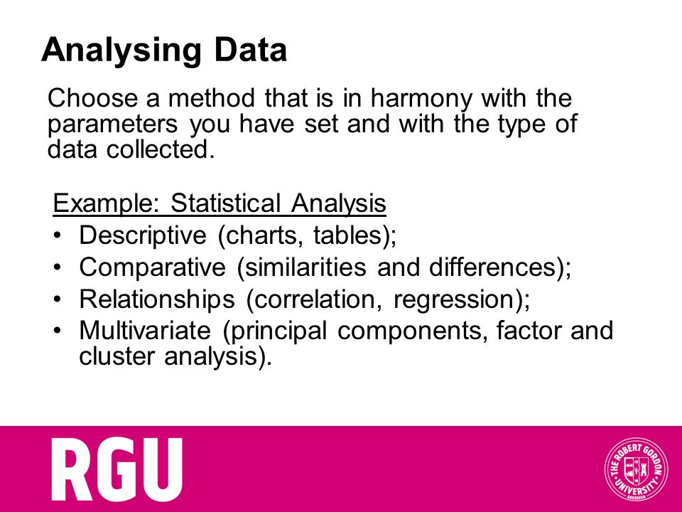 Analysing Data Choose a method that is in harmony with the parameters you have set and with the type of data collected.