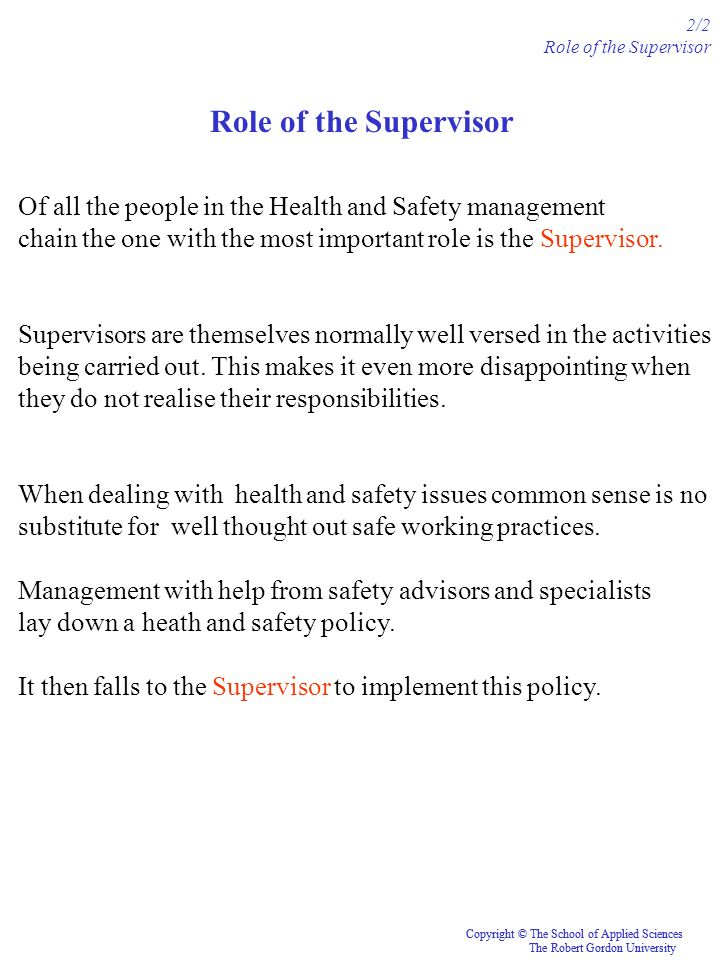 2/2 Role of the Supervisor. Role of the Supervisor. Of all the people in the Health and Safety management.