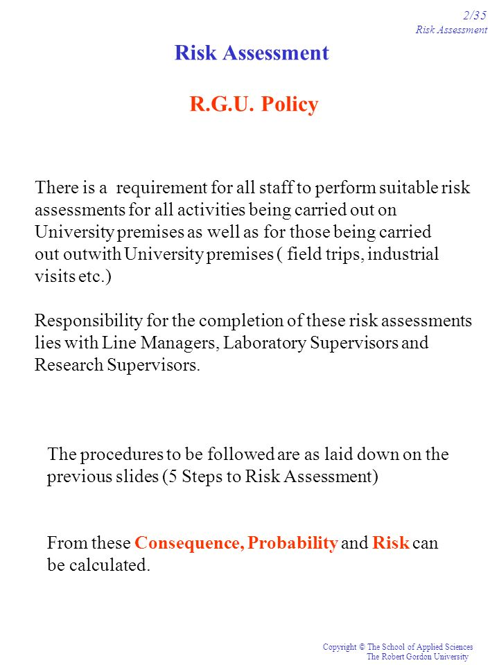 Risk Assessment R.G.U. Policy