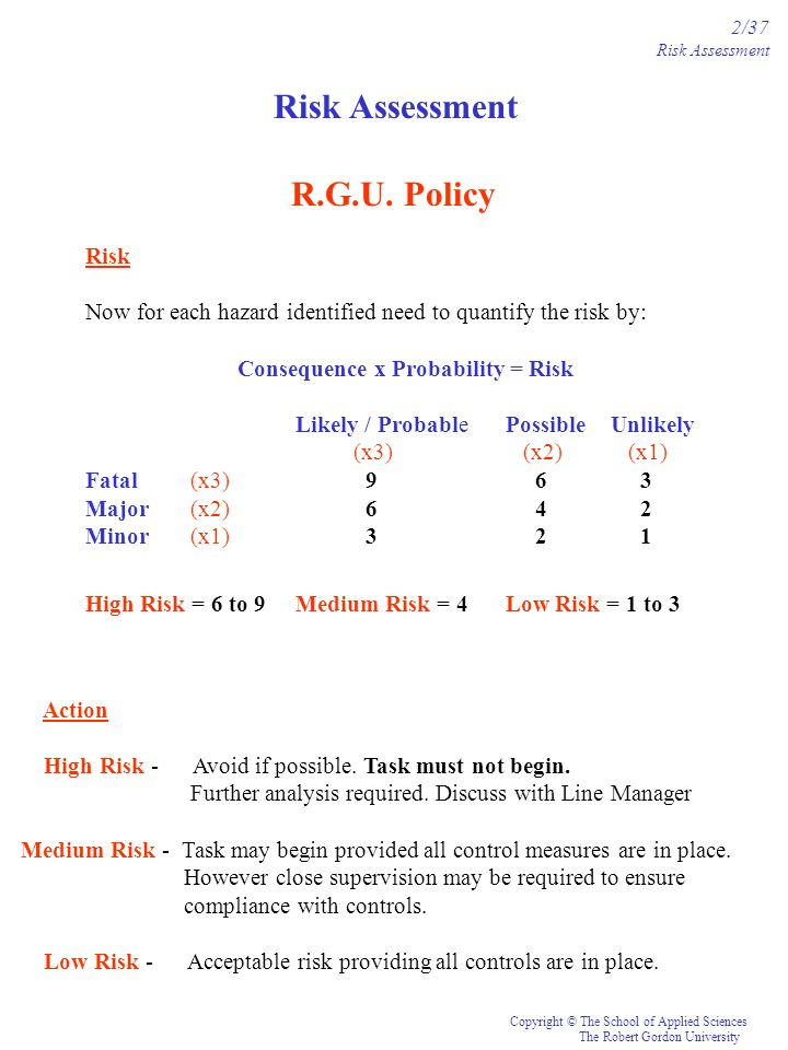 Risk Assessment R.G.U. Policy Risk